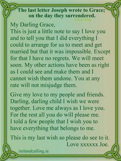 Joseph Plunkett and Grace Gifford. I am crying. Joseph Plunkett's last note to Grace Gifford.