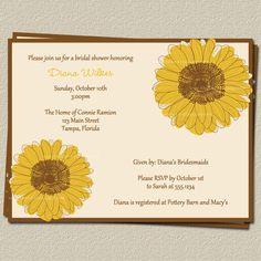 Sunflower Bridal Shower Invitations  Wedding by TheInviteLadyShop