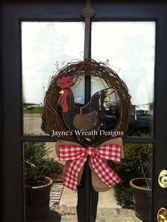 Grapevine Rooster Wreath with Burlap Bow