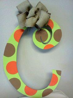 Fall Initial Door Hanger. $25.00, via Etsy.