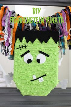 A cute DIY Frankenstein Pinata for a Halloween Party for the little ones!
