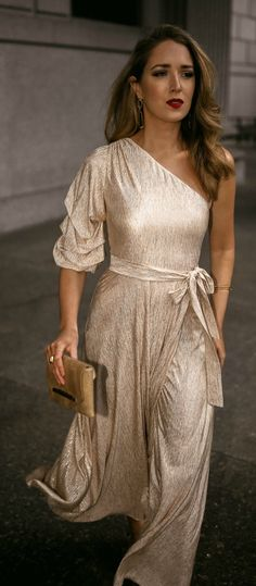 7c7b97b902 What to Wear to the Theater    Gold metallic one shoulder midi dress with  waist