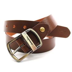 (JPB001-BROWN) Casual Leather Belt from W28 to W35