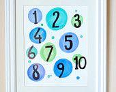 Numbers, number chart, educational art, watercolor painting, original painting, nursery art, kids art