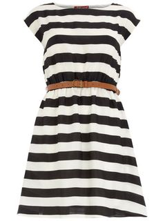 striped belted dress. love this.