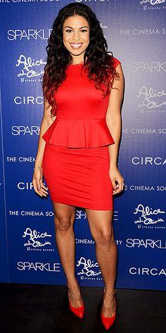 JORDIN SPARKS in an Alice + Olivia red peplum dress