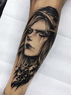 Ramón weiter - Ramón on Gustavo Takazone> Sylvanas Windrunner (Warcraft) Bear Tattoos, Old Tattoos, Celtic Tattoos, Sleeve Tattoos, Tattoo Symbols, Gamer Tattoos, Anime Tattoos, Dota Tattoo, Tattoo Ink