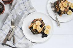 Grain-Free Blueberry Pancakes {sugar-free} — urban.apron. #dairyfree #bananapancakes #breakfast #grainfree #whole30 #healthybrunch