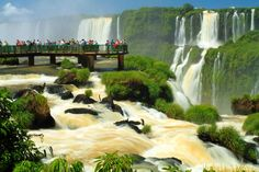 Iguazu Waterfalls in Brazil and Argentina.Brazil and Argentina both get to boast views of these spectacular waterfalls, but the border region is home to an amazing amount of shady business between the two countries Beautiful Places In The World, Places Around The World, Wonderful Places, Around The Worlds, Amazing Places, Brazil Argentina, Iguazu Waterfalls, Places To Travel, Places To Go