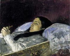 Marià Fortuny, La senyoreta Del Castillo en el seu llit de mort (Granada, 1871, Museu Nacional d'Art de Catalunya, Barcelona)