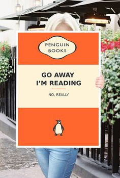 Go Away I'm Reading, No Really Penguin Book by BeAwesomeArt on Etsy