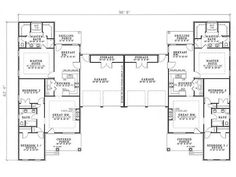 Multi-Family Plan 62382 - One-Story Style Multi-Family Plan with 2904 Sq Ft, 6 Bed, 4 Bath, 4 Car Garage Duplex Floor Plans, House Floor Plans, Family House Plans, Best House Plans, The Plan, How To Plan, Duplex House Design, Multi Family Homes, Traditional House Plans