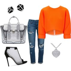 """""""Wear it with Confidence ¡!"""" bold orange goes lovely with hints of silver. they both play off of each other very well, w.o taking to much from the other ! So wear it w. confidence!¡"""