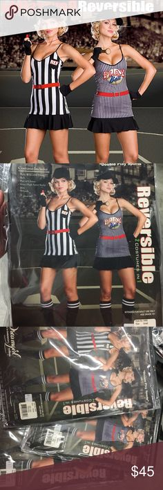 Double Play Sports Referee Baseball Costume 7 piece set: Fully reversible dress, belt, pair of gloves, knee high sports socks, hat, whistle.  Small 90-120lbs. Medium 120-140lbs. Large 140-160lbs. Dreamgirl Dresses Mini