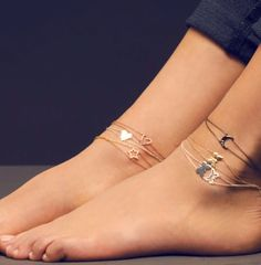 layered ankle bracelets