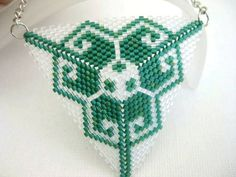 Beadwork Peyote Triangle Pendant in Emerald and Transparent Crystal Beadwoven Seed Beads