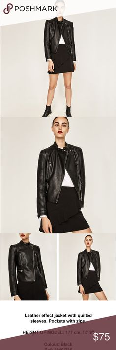 Zara faux leather black jacket moto biker quilted NWT. Pl feel free to ask questions or make an offer. Add your likes to a bundle and I will send you a private offer. Check out my other NWT Zara items. Happy poshing Zara Jackets & Coats