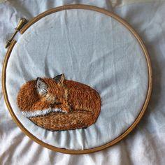 Fox. Work in progress. Irish wildlife series. Hand embroidery. www.violetshirran.com