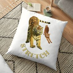 Floor Pillows, Throw Pillows, Small Cat, Stretching Exercises, Pillow Covers, My Arts, Art Prints, Printed, Cats