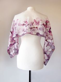 #cherry #blossom #floral #pattern #silk #scarf #hand #painted by Luiza #malinowska #minkulul #delicate