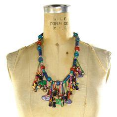 80s Guatemalan Necklace / Vintage 1980s Worry Doll Folk Art Fringe & Beaded Statement Necklace / Hippie Boho Ethnic Tribal Fetish Necklace by SpunkVintage