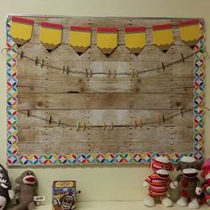 All ready for student work!  #classroomdecor #sockmonkeyclass #barnwood #creativeteachingpress #targetteachers