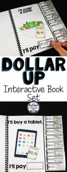 Here is a set of 4 adapted/interactive books to practice dollar more. Students can practice using dollar up/dollar more with these 10 page, color interactive books. Each books targets a different level of learning dollar more, so they can be used through introduction of the skill until they meet mastery and maintenance. Each piece of the book includes the price as well as a pictorial representation of the money.
