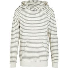 SOL ANGELES Stripe Cowl Hoodie (211,050 KRW) ❤ liked on Polyvore featuring tops, hoodies, natural, button up hoodie, white hooded sweatshirt, cowl neck hoodie, striped top and cowl neck top
