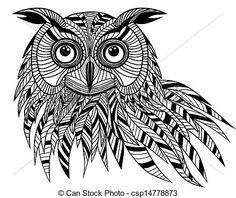 Vectors Illustration of Owl bird head as halloween symbol for ...