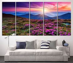 Large Canvas Print Mountain and Sunlight, Extra Large Wall Art Canvas Print, Sun and Mountain Large Canvas Print, Pink Flower on Mountains Large Canvas Prints, Large Canvas Wall Art, Extra Large Wall Art, Sunset Canvas, Family Room Decorating, Landscape Paintings, Landscapes, Canvas Paintings, Inspirational Wall Art