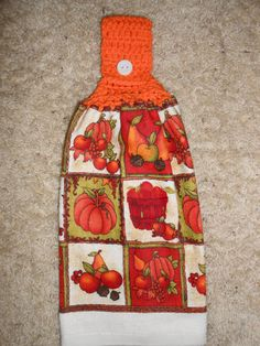 Fall, Pumpkin Hanging Kitchen,Crochet Top Towel, Double and Reversible by CrochetandOrnaments, $6.95