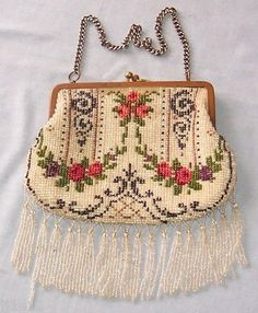Antique Vintage Beaded Handbag Purse No Damage to Beads | eBay