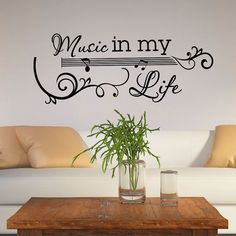 Guitar Wall Decal Music Vinyl Lettering Wall Decals Quotes Music In My Life Vinyl Wall Decal Vinyl Sticker Art Living Room Home Decor Approximate