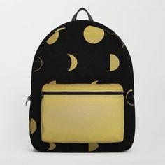 Gold Moon Phases Backpack by laurafrere Moon Phases, Graphic, Backpacks, Patterns, Gold, Stuff To Buy, Bags, Pattern, Block Prints