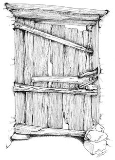 Khalifa's House Gate, Omdurman. Pen & ink 400x 200 mm. © Sue Pownall 2010 Click on the image above to view a larger version showing more detail.