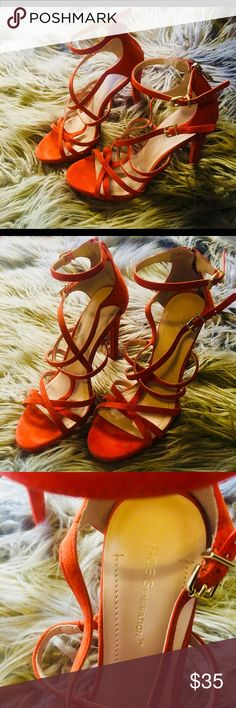 BCBGEneration Orange Suede Heels BCBGEneration strappy orange suede heels. The uppers are genuine leather, and the bottoms of the shoes are also leather. These have adjustable gold hardware. The heel is about 4 inches. Excellent condition, they are very gently used. BCBGeneration Shoes Heels
