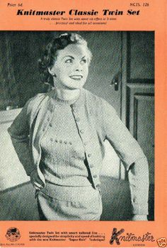 1960's VINTAGE MACHINE PATTERN: KNITMASTER CLASSIC TWIN SET 32-36