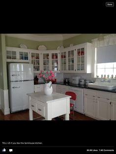 Farmhouse kitchen :)). Love the fridge!