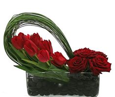 Red roses & red tulips - wanted these for my wedding day but was getting married a month too early for the tulips