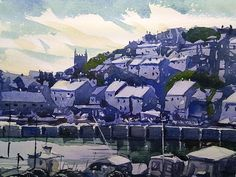 Brixham town from the harbour #devon #watercolor