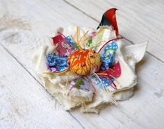 OOAK Cololrful Flower Brooch Handmade Fabric Flower Pin by odpaam