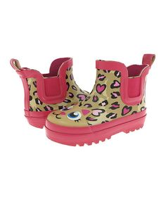 Another great find on #zulily! Tan & Hot Pink Leopard Rain Boot by Capelli New York #zulilyfinds