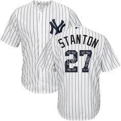 Yankees #27 Giancarlo Stanton White Strip Team Logo Fashion Stitched MLB Jersey