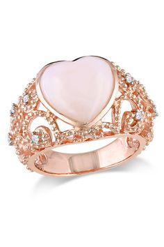 Pink silver?! Delmar 4.25CT Pink Opal And 0.1CT Diamond Ring In Pink Silver - Beyond the Rack