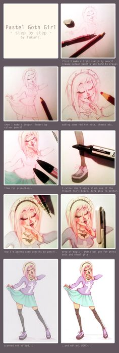 pastel goth girl - step by step by *Fukari on deviantART