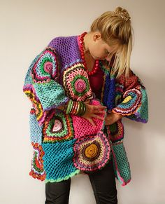 Plus Size Multicolor Crocheted Cardigan by subrosa123 on Etsy. €220,00, via Etsy.