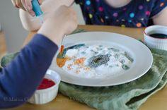 Baking soda, vinegar, and food coloring provide endless joy for my kids on a regular basis. Baking Soda Vinegar, Make Happy, Oatmeal, Crafts For Kids, Breakfast, Homeschool, How To Make, Fun, Play