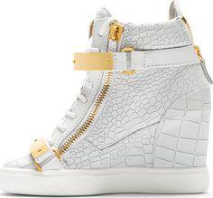 Giuseppe Zanotti White Lorenz High-Top Wedge Sneakers
