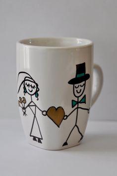 Coffee Mug featuring Bride and Groom by CraftySimpleStuff on Etsy, $6.99