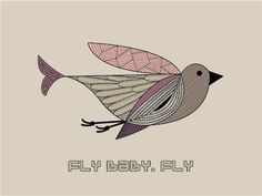 FLY BABY, FLY - Rosa Mat Paper, Flying With A Baby, Fly Baby, Bridal Style, Tatting, Rooster, Digital Prints, Birds, Graphic Design